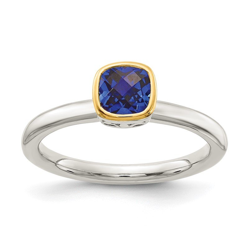 Quality Gold Sterling Silver w/ 14K Accent Created Sapphire Ring