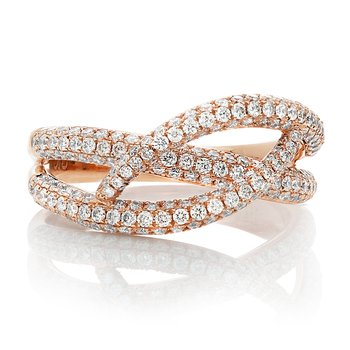 Rose Gold & Diamond Overlapping Ring