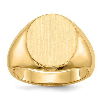 14k 15.0x13.5mm Open Back Men's Signet Ring