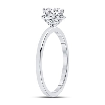 14kt White Gold Womens Round Diamond Solitaire Bridal Wedding Engagement Ring 7/8 Cttw