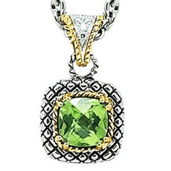 18kt and Sterling Silver Cushion Peridot and Diamond Button Pendant with Chain