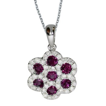 14k White Gold Round Ruby Flower Pendant