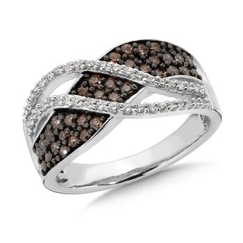 Pave set,  Cognac and White Diamond Fashion Ring with an Open Swirl Design set in 10k White Gold (3/4 ct. tw.)