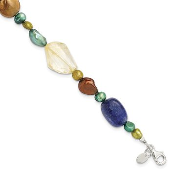 Sterling Silver Citrine/Lapis/Agate/Howlite/Jade/Chrysocolla/Necklace