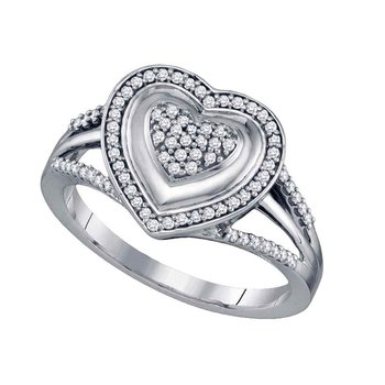 10kt White Gold Womens Round Diamond Framed Heart Cluster Ring 1/4 Cttw