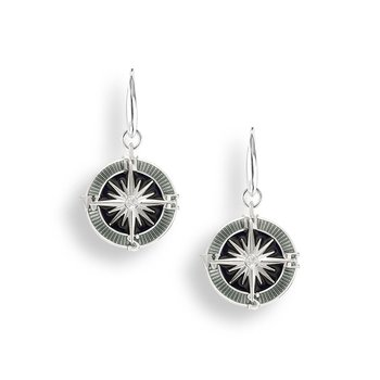 Gray Compass Rose Wire Earrings.Sterling Silver-White Sapphires