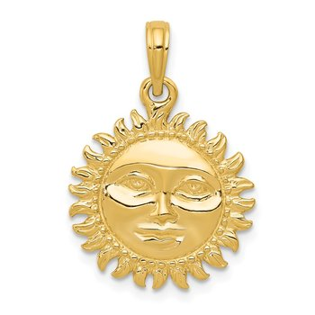 14k Solid Polished Reversible Sun Pendant