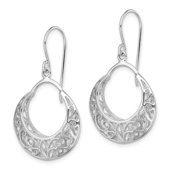 Sterling Silver RH-plated Polished Fancy Shepherd Hook Earrings