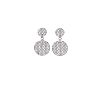 18KT GOLD DIAMOND PAVE DISC EARRINGS