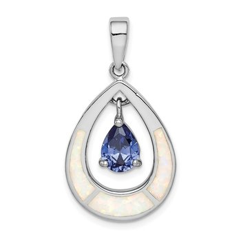 Sterling Silver Rhod-plated Created Opal / Blue CZ Teardrop Pendant