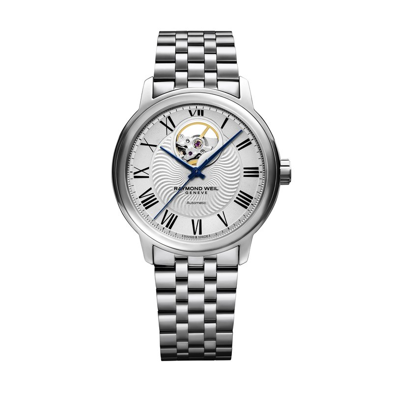 Raymond Weil Men's Automatic Watch Open Balance Wheel, 39mm Steel on steel, Roman numerals