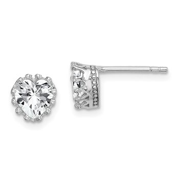 Sterling Silver Rhodium-plated 6mm Polished Heart CZ Post Earrings