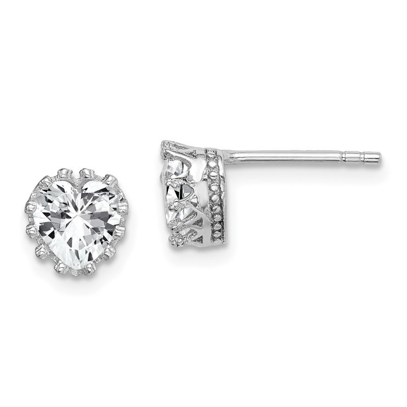 Quality Gold Sterling Silver Rhodium-plated 6mm Polished Heart CZ Post Earrings