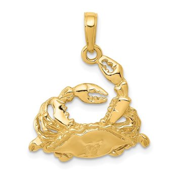 14k Polished Open-Backed Blue Crab Pendant