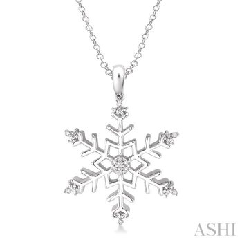 silver snow flake diamond pendant