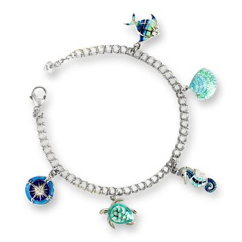 Multi-Colored Ocean Charm Bracelet.Sterling Silver-White Sapphires