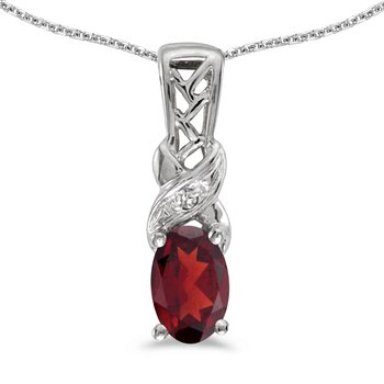 14k White Gold Oval Garnet And Diamond Pendant