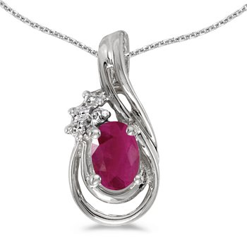 14k White Gold Oval Ruby And Diamond Teardrop Pendant