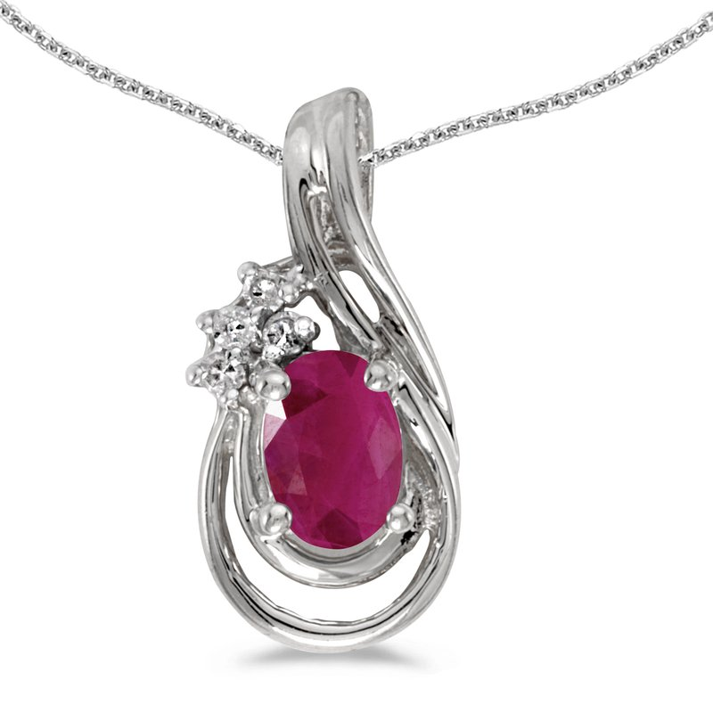Color Merchants 14k White Gold Oval Ruby And Diamond Teardrop Pendant