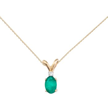 14k Yellow Gold Emerald and Diamond Oval Pendant
