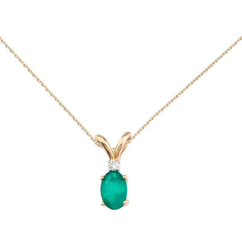 Color Merchants 14k Yellow Gold Emerald and Diamond Oval Pendant