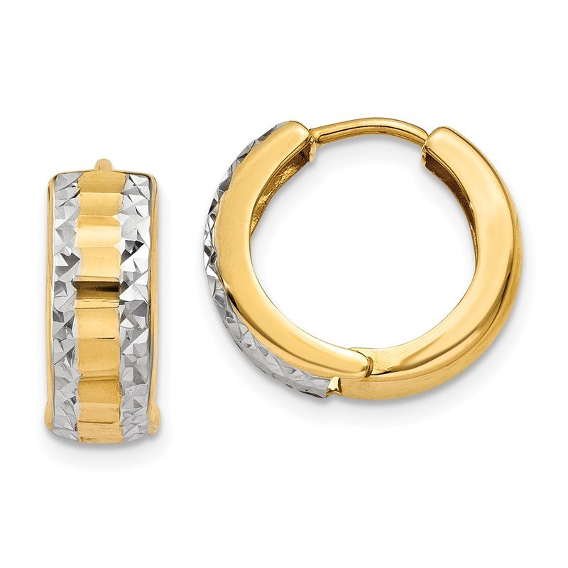 Quality Gold 14k & Rhodium Hinged Hoop Earrings