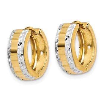 14k & Rhodium Hinged Hoop Earrings