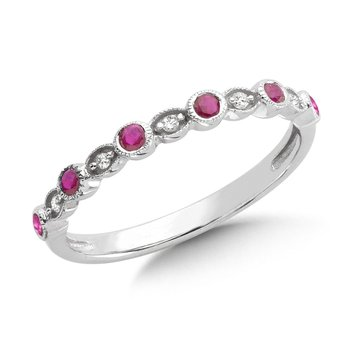 Pave and Bezel set Ruby and Diamond Stackable Ring in 10k White Gold