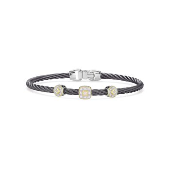 Steel Grey Cable Essential Stackable Bracelet with Multiple Diamond station set in 18kt Yellow Gold