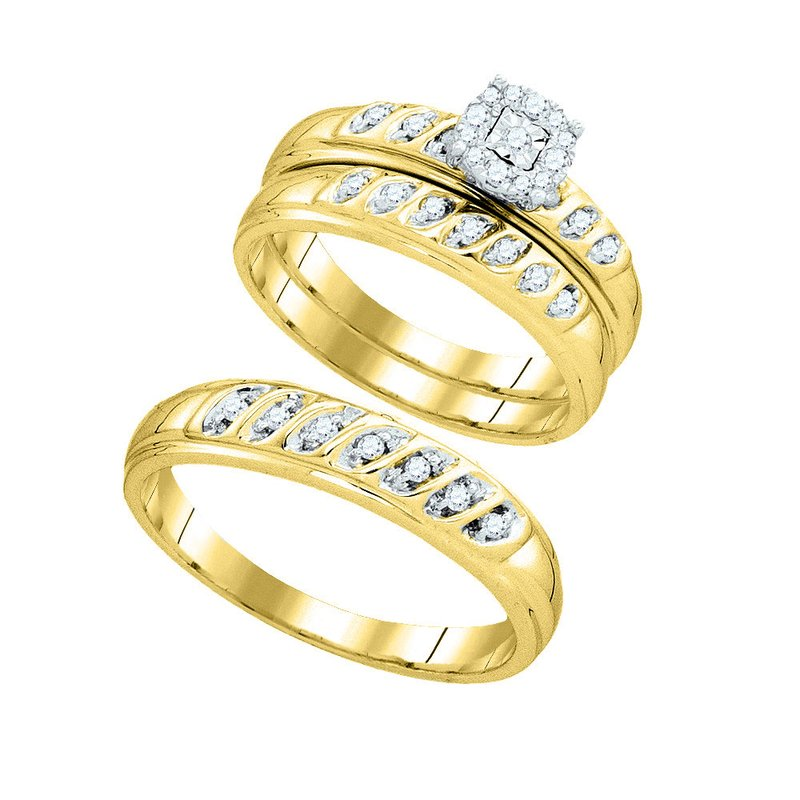 Kingdom Treasures 10k Yellow Gold Round Diamond Matching Trio Mens Womens Wedding Bridal Ring Set 1/3 Cttw