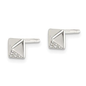 Sterling Silver CZ Pyramid Post Earrings