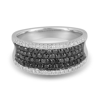 14K WG Black and White Diamond Ring