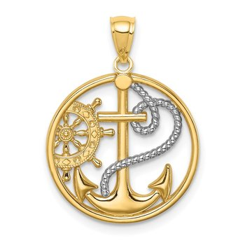 14K W/ Rhodium Cross Anchor Captain Wheel Pendant