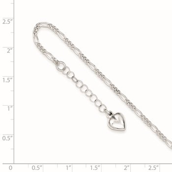 Sterling Silver Polished Heart 9in Plus 1in Ext. Anklet