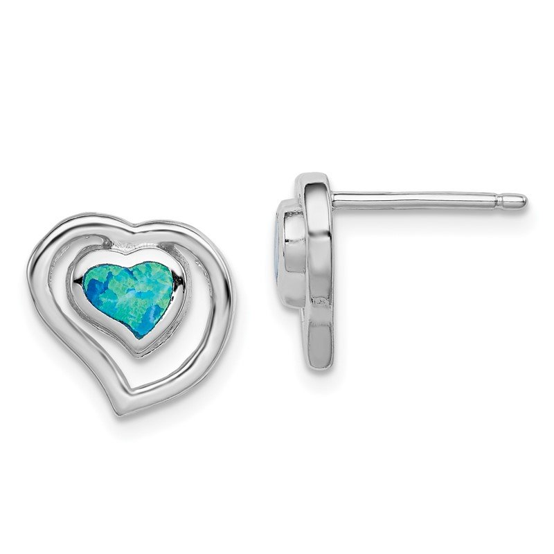 Quality Gold Sterling Silver Created Blue Opal Inlay Center Heart Post Earrings