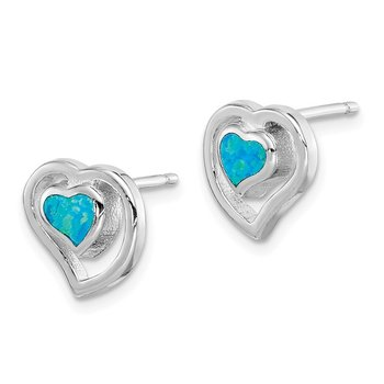 Sterling Silver Created Blue Opal Inlay Center Heart Post Earrings