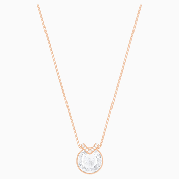 Bella V Pendant, White, Rose-gold tone plated