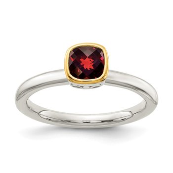 Sterling Silver w/ 14K Accent Garnet Ring