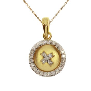 "14k Yellow Gold ""X"" Satin Button Pendant"