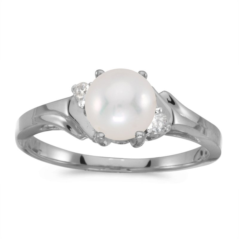 Color Merchants 14k White Gold Pearl And Diamond Ring