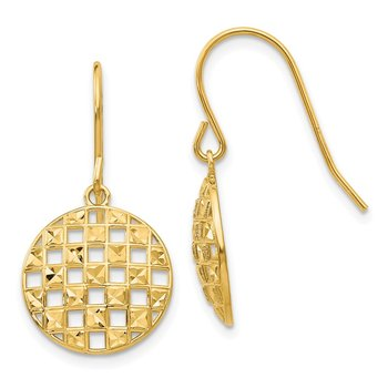 14k Circle Diamond-cut Shepherd Hook Earrings