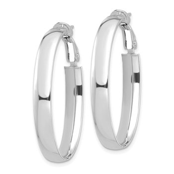 14k White Gold High Polished 5mm Oval Omega Back Hoop Earrings