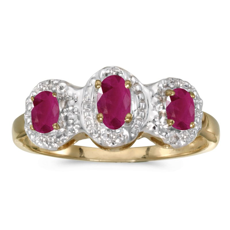 Color Merchants 14k Yellow Gold Oval Ruby And Diamond Three Stone Ring