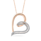 Essentials 10K Rose Gold 1/4 Ct Diamond Heart Pendant with Chain