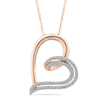 10K Rose Gold 1/4 Ct Diamond Heart Pendant with Chain