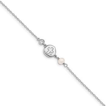 Sterling Silver RH-plated CZ/Cross/FWC Pearl w/2in ext Bracelet