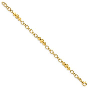 14K Brushed & Polished Fancy Link Bracelet