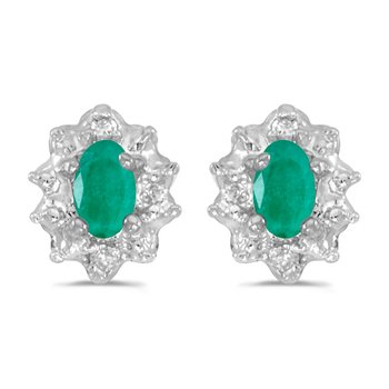 10k White Gold 5x3 mm Genuine Emerald And Diamond Earrings