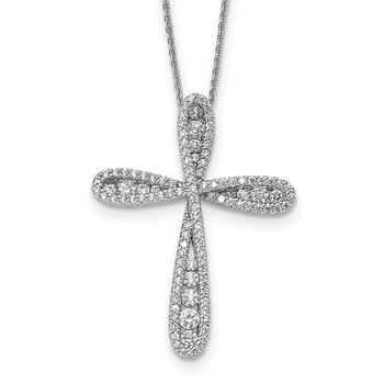 Sterling Silver CZ Cross Chain Slide 16in w/2in ext. Necklace