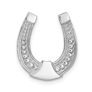 14k White Gold Horseshoe Chain Slide Charm